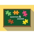 question and answer in green board puzzle concept vector image vector image