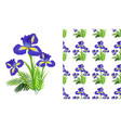 seamless background design with iris flowers and vector image