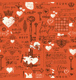 seamless pattern on theme of declaration of love vector image vector image