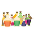 set of cartoon bottles and potions flat vector image