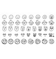 set of hand drawn creative emoticons or sketched vector image
