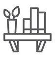shelf line icon furniture and home bookshelf vector image
