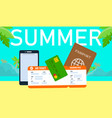 summer holiday horizontal banner with lettering vector image vector image