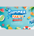 summer party with paper cut symbol and icon for vector image vector image