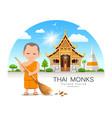 thai monk is leaf sweep design thailand temple vector image