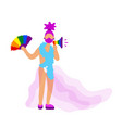 transgender activist with rainbow fan and speaker vector image vector image