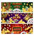 wheel fortune casino poker big win jackpot vector image