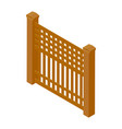wooden rural garden fence isolated on white vector image vector image