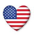 American United States Flag in glossy heart button vector image