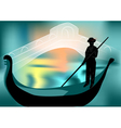 gondolier in the evening city vector image