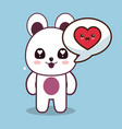 kawaii bear character talk love vector image