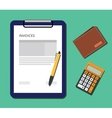 invoices document with clipboard calculator and vector image