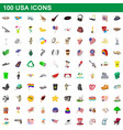 100 usa icons set cartoon style vector image vector image