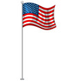 american flag on metal pole vector image