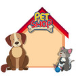 border template with dog and cat vector image vector image