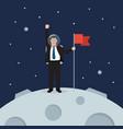 businessman astronaut landing on moon holding flag vector image vector image