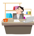 businessman sleeping at work table over laptop vector image vector image