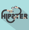 Camera And Eyeglasses In Hand With Hipster vector image vector image