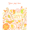 Card with flowers and butterflies floral pattern vector image