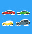 cartoon color cars covered snow icon set vector image