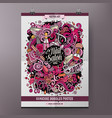 cartoon hand drawn doodles nail salon poster vector image vector image