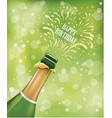 champagne bottle popping explosion on birthday vector image vector image