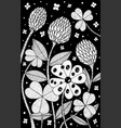 clover - flower black and white ink vector image vector image