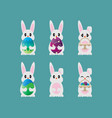 collection easter bunny template design vector image