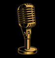 color microphone on dark background vector image vector image