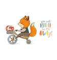 cute fox on a bicycle vector image vector image