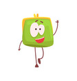 cute smiling purse character waving its hand vector image vector image