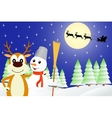 deer and the snowman vector image