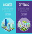 downtown business district banners set vector image