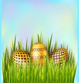easter decorated golden eggs on sky background vector image vector image