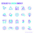 ecology and green energy thin bicolor line icons vector image vector image