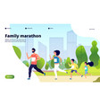 family marathon dad mom and kids running vector image vector image