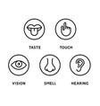 five human senses vision eye smell nose hearing vector image vector image