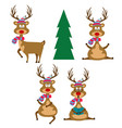 funny flat design reindeers dressed for christmas vector image vector image