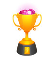 gold cup trophy award with diamonds and base vector image vector image