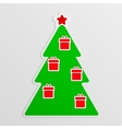 Green fir with hanging red gifts vector image vector image