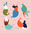 group of mythical underwater creatures mermaids vector image