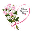 happy mothers day note with colorful roses and vector image vector image