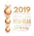 happy new 2019 year poster template with gold vector image