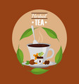 herbal tea teacup and spoon with grains on dish vector image vector image