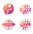 i love you text overlays hand drawn vector image vector image