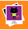 Instant photo with black cat and pumpkin bucket vector image