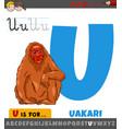 letter u from alphabet with cartoon uakari animal