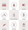Modern Medicine Line Icons Set Blood Test vector image