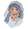 mother teresa on white background vector image