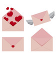 pink envelopes with hearts and wings vector image